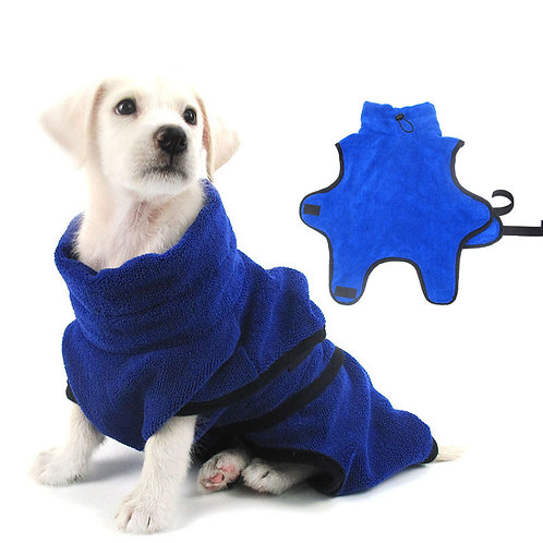 Dog Bathrobe Warm Dogs Clothes Super Absorbent Drying Towel for Golden Teddy