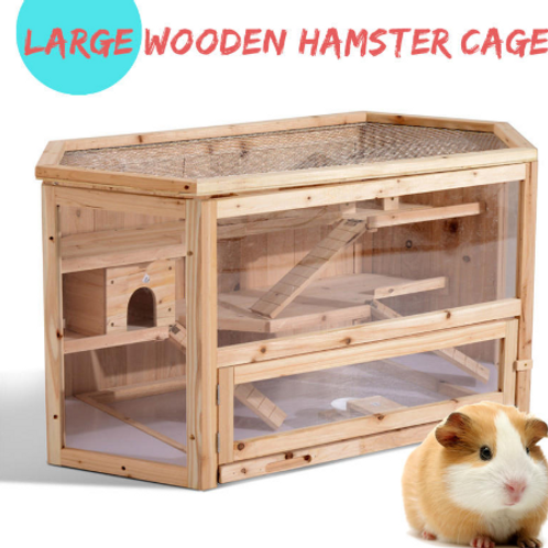 3-Tier Wooden Hamster Cage House