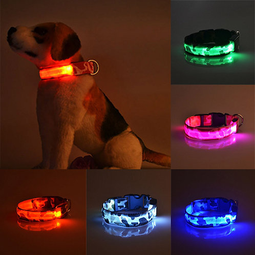Pet Dog Cat Adjustable LED Light Pet Safety Collars Camouflage Stylish Flashing