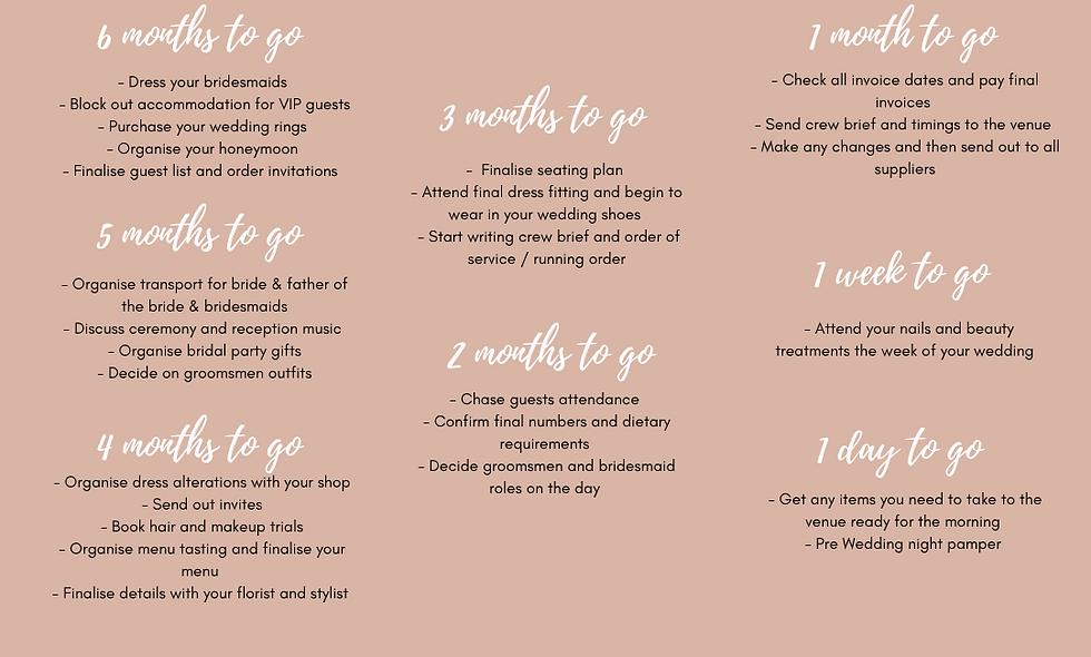 Free 6 month wedding planning timeline