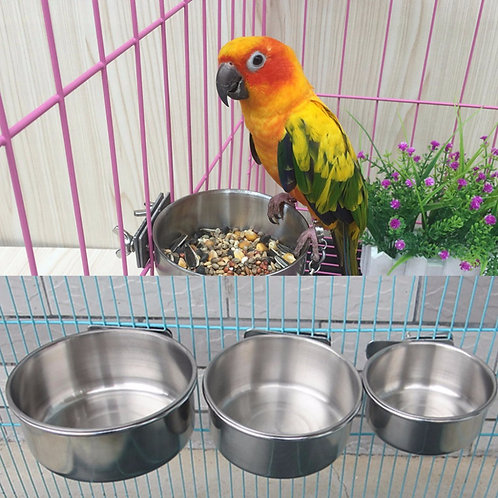 Stainless Steel Food Water Feeding Bird Parrot Cups With Clamp Cage Stand Holder