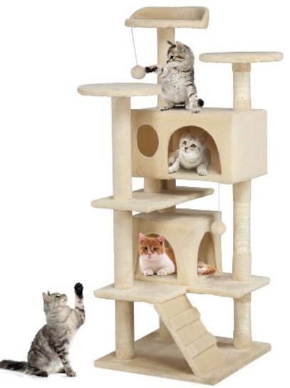 New Beige Large Cat Tree Condo Furniture Scratching Post Pet Cat Kitten House