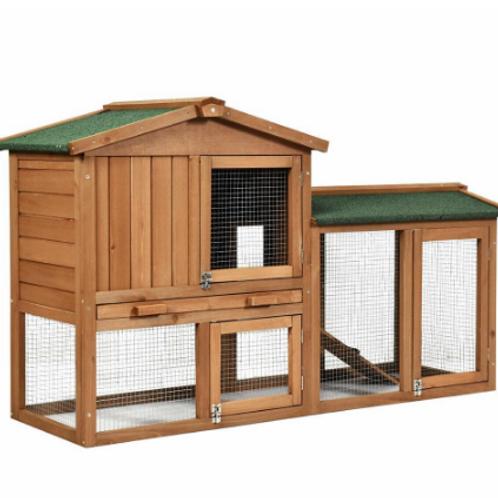 """58"""" Wooden Rabbit Hutch Large Chicken Coop Weatherproof Indoor Outdoor Use"""