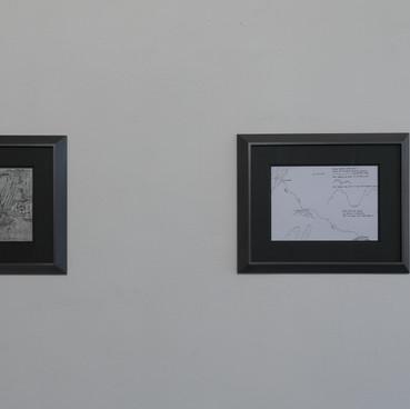 installation view, Klara Hobza, Diving Through Europe, drawings