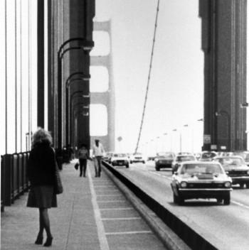 Lynn Hershman Leeson, Roberta Contemplating Suicide on the Golden Gate Bridge, 1978, photography, digital pigment print, 15.7x23.4cm