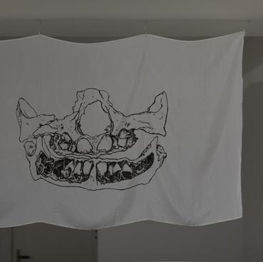 Klara Hobza, Dental growth six months, 2019, flag, silk screen, black on white silk