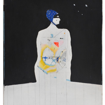 Lynn Hershman Leeson, X-Ray Woman in Bathing Cap, 1961, acrylic, graphite and spray paint on plywood, 58.4x73.7cm, 29x23 inches