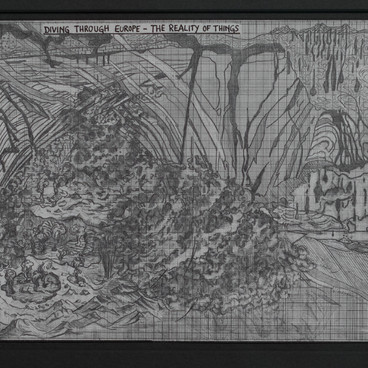 Klara Hobza, Diving Through Europe, The Reality of Things,  2019, pencil on paper, unframed 29,7x21 cm (A4), framed in graphite object 49x40x4cm