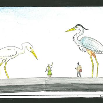 Mark Dion, The Bridge, 2015, watercolor on paper,12.5x19.5cm