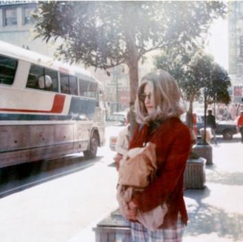 Lynn Hershman Leeson, Roberta at Bus Stop, 1978, photography, chromogenic print, vintage, 24.1x18.4cm, 9.5x7.25in