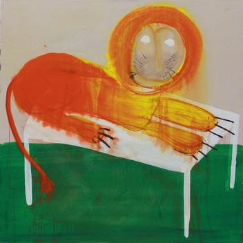 Matthias Dornfeld, untitled (gefährlicher Löwe), 2015, acrylic on canvas, 185x180cm