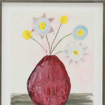 Matthias Dornfeld, Untitled (flowers), 2018, oil and pencil on paper, framed,  56x42cm  EUR 1'900 CHF 2'000