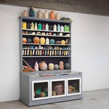 Mark Dion, Cabinet of Marine Debris, 2014, wood, glass, metal, paint, and assorted marine debris,  plastic, rope