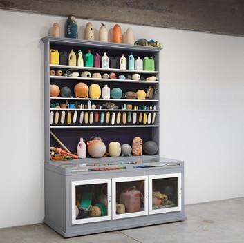 Mark Dion, Cabinet of Marine Debris, 2014, wood, glass, metal, paint, and assorted marine debris,  plastic, rope