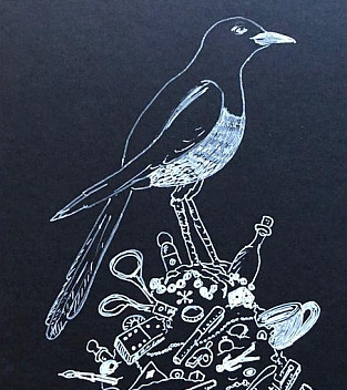 Mark Dion, The Magpie, 2018 pencil on paper, 10.2x15.5cm