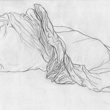 Klara Hobza, Unmade Bed 2, 2015, pencil on paper, 29.3x17.5cm