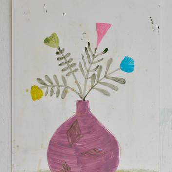 Matthias Dornfeld, untitled (flowers), 2019, oil on paper , 100x70cm