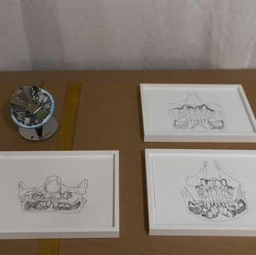 in the storage room: Klara Hobza, Der Vorstoss und Rückzug des Loisach Gletschers, color, 2018, praxinoscope, polished steel 14x16 x12,5cm, pencil and water color on paper, 12x12cm and three drawings, Dental Growth