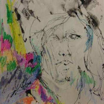 Lynn Hershman Leeson, untitled, late 1950s, wax resist watercolor on paper,  29x21.5cm, 11.5x8.5in