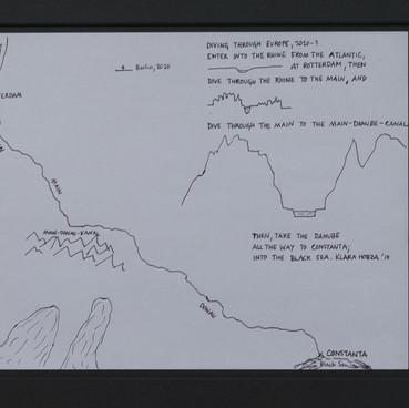 Klara Hobza, Diving Through Europe, The Plan, 2009, black ink pen on paper, unframed 29,7x21 cm (A4), framed in graphite object 49x40x4cm, 49x40x4cm