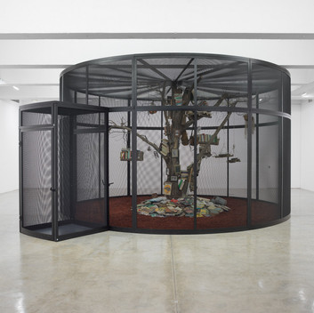 Mark Dion, The Library for the Birds of New York, 2016, steel, wood, books and birds, 138x240 inches; 350.5x609.6cm