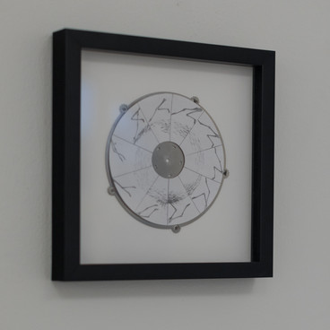 Klara Hobza, Taking off, 2019, pencil on paper on steel, unframed 14x14cm, framed 22.5x22.5cm
