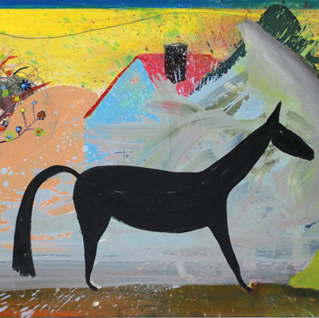 Matthias Dornfeld, untitled (horse, house tree...), 2018, oil on wood, 100x150cm