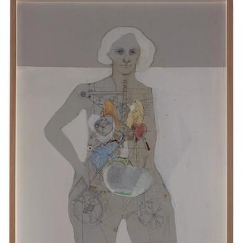 Lynn Hershman Leeson, X-Ray Woman, pencil, acrylic, pen on canvas, 93x48.7cm, 36.6×19.2 inches