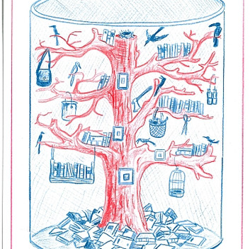 Mark Dion, Library for the Birds, 2015  red and blue pencil on paper, 15.3x20.4cm