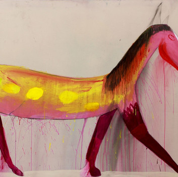 Matthias Dornfeld, untitled (out of the horse series), acrylic on canvas,160x260cm, 2018