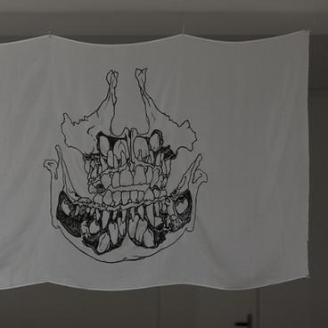 Klara Hobza, Dental growth six years, 2019, flag, silk screen, black on white silk