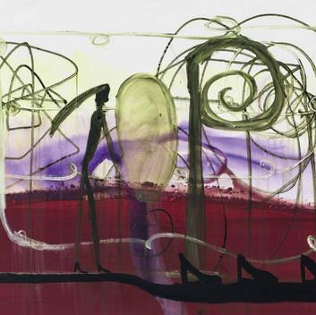 Matthias Dornfeld, untitled (landschaftartig mit Figur und Geschnörkel), 2014, 130x185cm