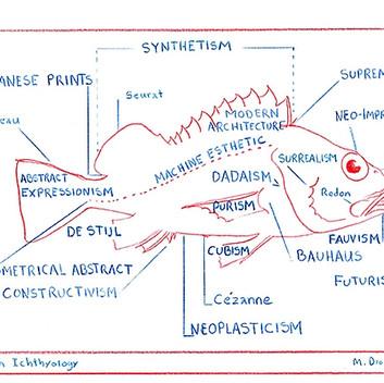 Mark Dion, Modern Ichthyology, 2015, red and blue pencil on paper, 15.3x20.4cm