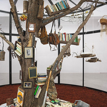 Mark Dion, The Library for the Birds of New York, 2016, steel, wood, books and birds, 138x240 inches; 350.5x609.6cm, detail