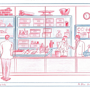 Mark Dion, Archeology Lab, 2014, red and blue pencil on paper, 22.7x30.2cm