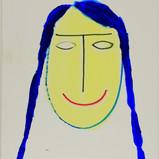 Matthias Dornfeld, Untitled (face with blue hair), 2019, acrylic on canvas, 150x100cm  EUR 8'500 CHF 9'700