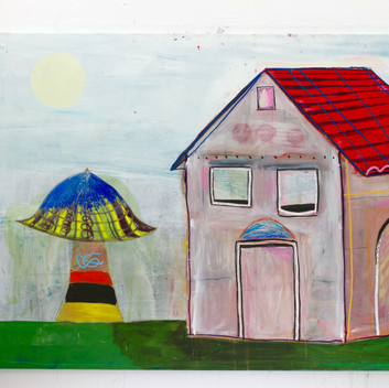 Matthias Dornfeld, untitled (out of the Haus Baum Sonne-series),  2018, oil, acrylic and crayons on canvas, 170x270cm  EUR 15'500 CHF 16'800