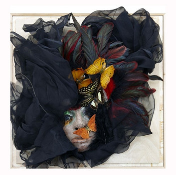 Lynn Hershman Leeson, untitled, wax, feather, 25.4x25.4x41.3cm, 10x10x16.25 inches