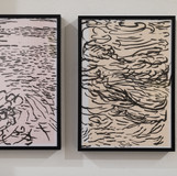 installation view, water drawings, calligraphy ink and brush on paper