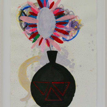 Matthias Dornfeld, Flowers (blackish vase), 2019, acrylic and oil on paper, 84x59cm, framed  EUR 2'400 CHF 2'600