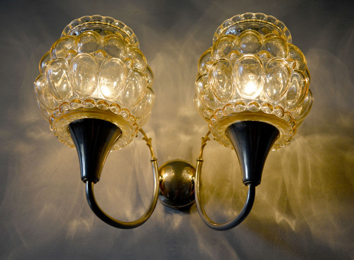 Vintage French 1970s Amber Glass Wall Lamp