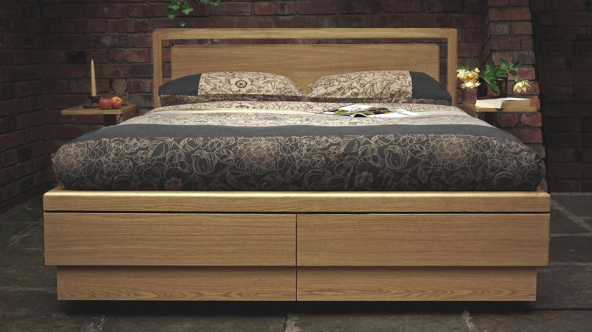 Super King Boxer Drawer Storage Bed Oak I The Living Storage Company
