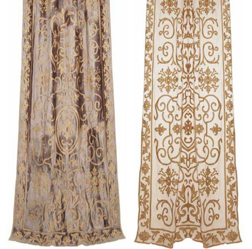 Whitehall velvet and sheer net curtain panel Gaynor Churchward