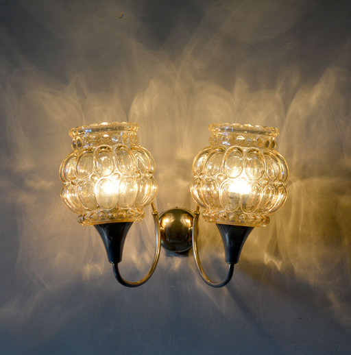 Vintage French Double Glass Shade Wall Light