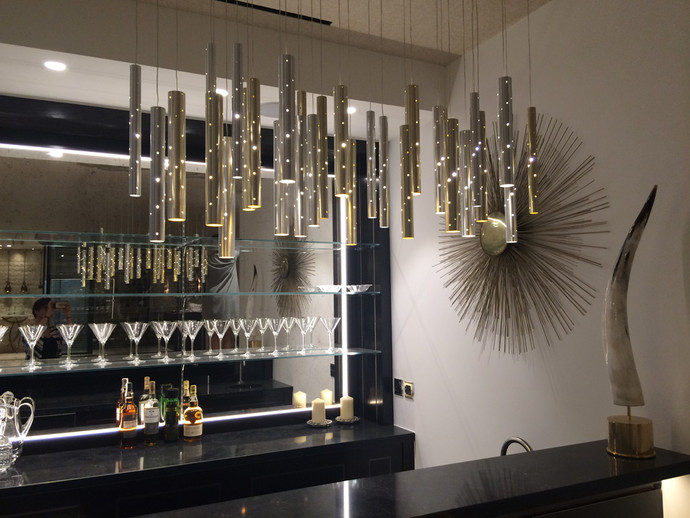 Rain Champagne and Silver Flute Chandelier