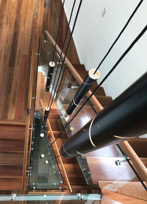 Black Rain Flute Chandelier Stairway