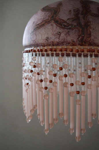 Vintage French Beaded Pendant Light