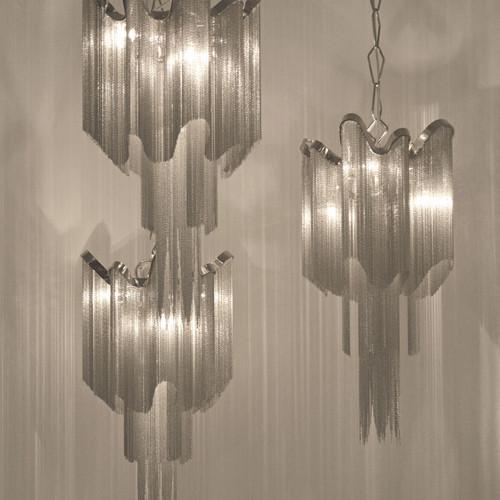 Stream chain chandelier · three stream pendant lights