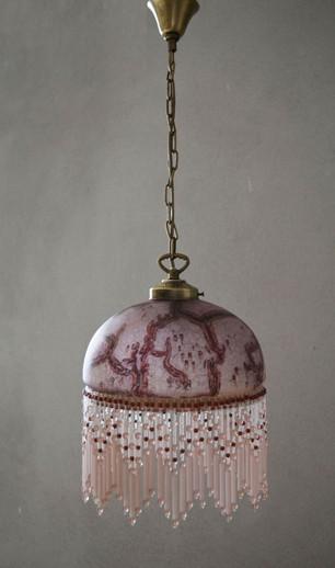Vintage Downton Abbey Style Glass Pendant Light