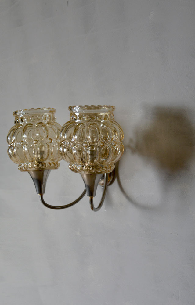 Vintage French Lobed Glass Double Shade Wall Light